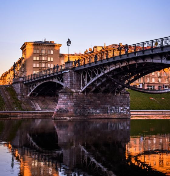 Sunset side view of Zveryno Bridge in Vilnius, Lithuania