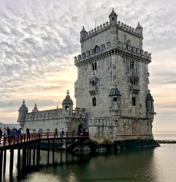 Sunset view of Belém Tower and Tagus River in Lisbon, Portugal