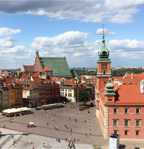 Top view over Castle Square in Warsaw, Poland