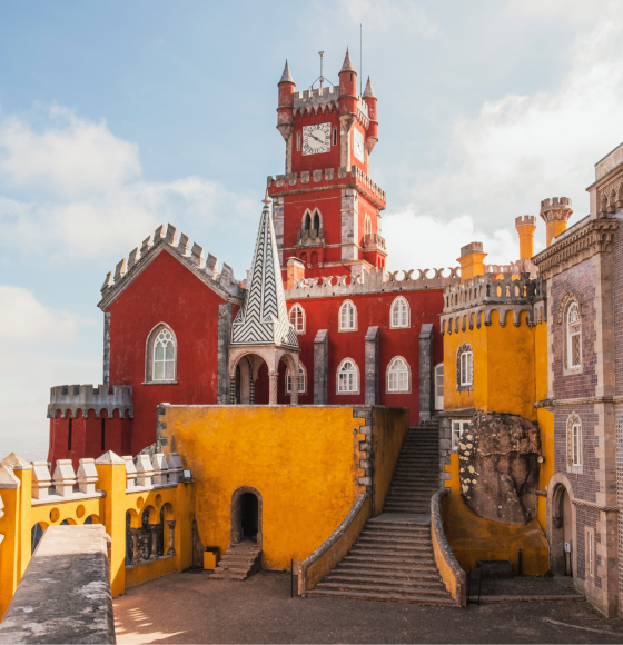 Entrance of colorful Pena Palace in Sintra, Portuguese Riviera